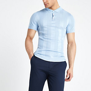 Light blue ribbed muscle fit polo shirt