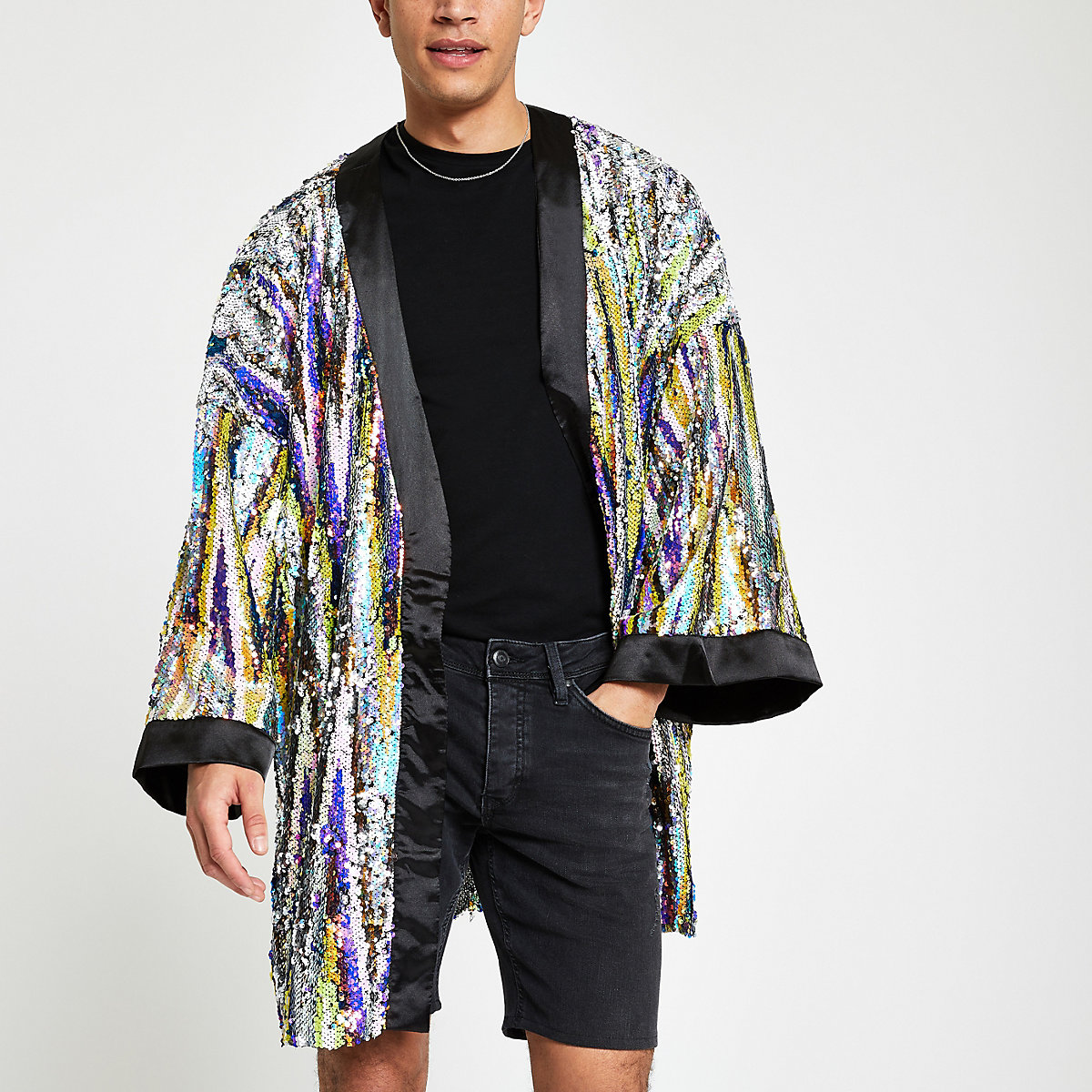 Jaded black sequin embellished kimono