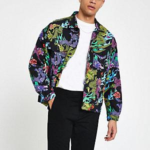 Jaded black dragon print denim jacket