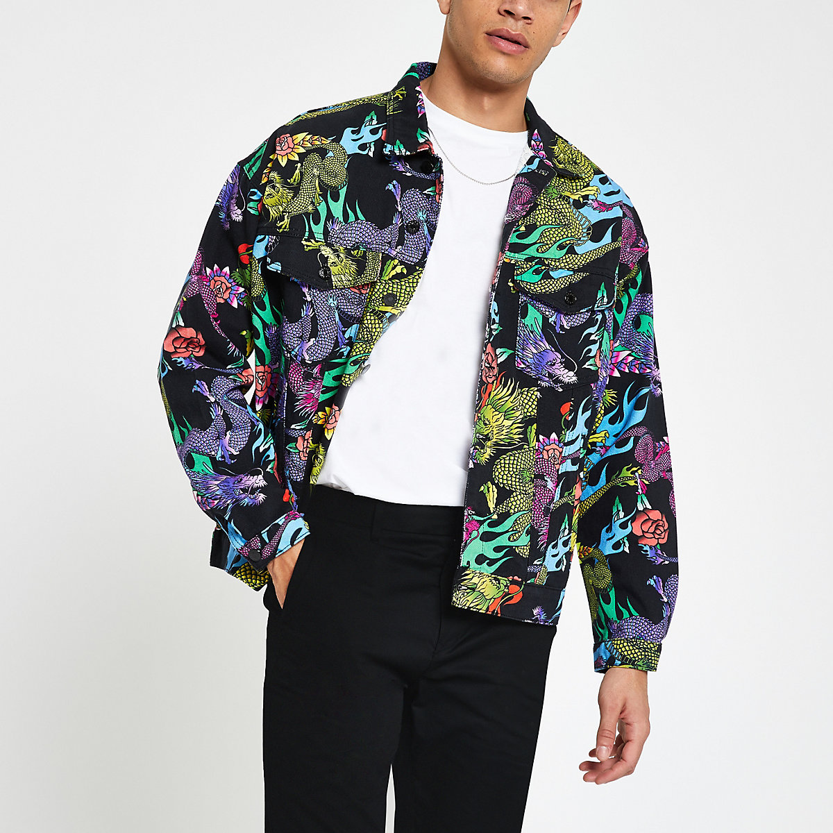 Jaded black dragon print denim jacket