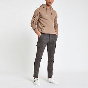 Pantalon cargo skinny à carreaux gris