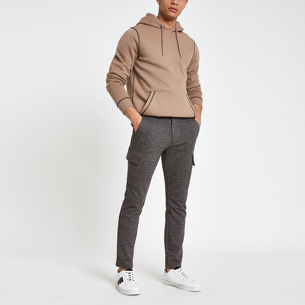 Grey check skinny cargo trousers
