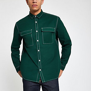 Dunkelgrünes Utility Langarmhemd