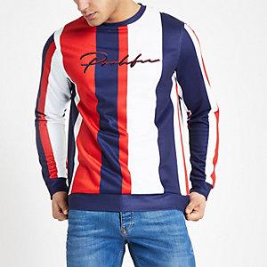 Rood slim-fit gestreept sweatshirt met 'Prolific'-print