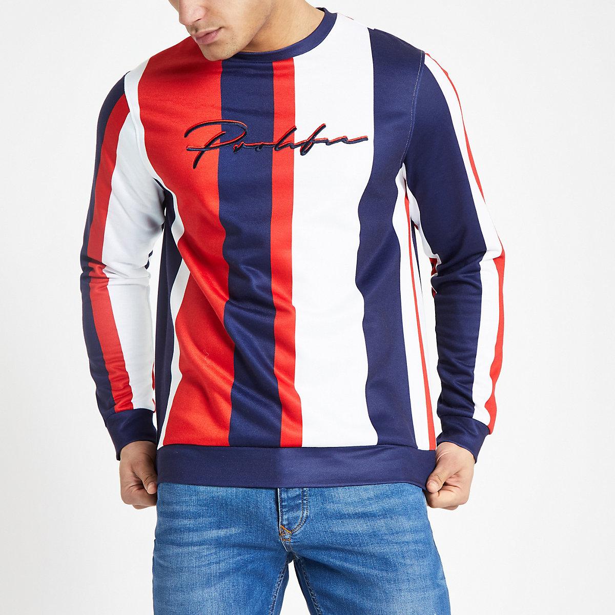 Red 'Prolific' stripe slim fit sweatshirt