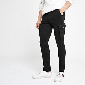 Zwarte skinny-fit nette cargobroek