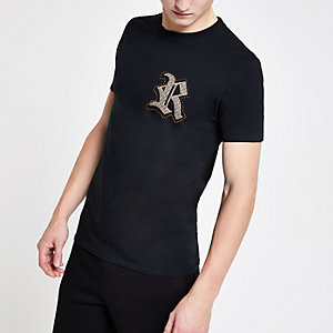 Black slim fit 'R' embroidered T-shirt