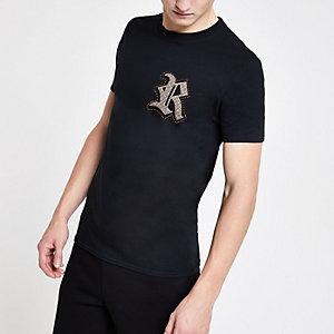 Zwart slim-fit family twinning T-shirt met RI-logo