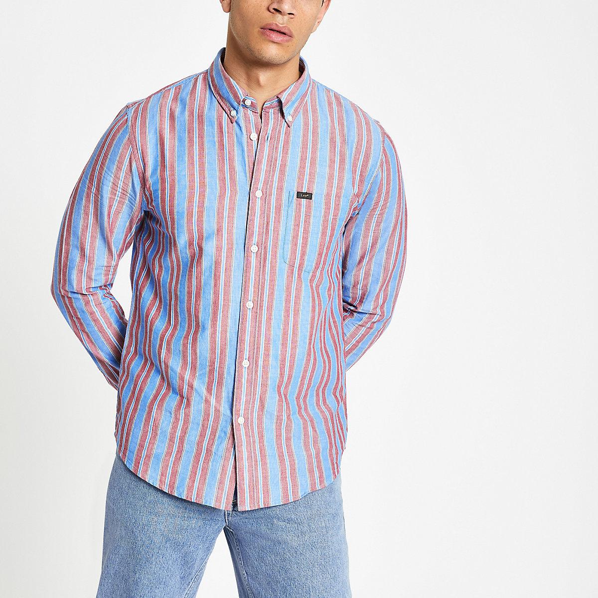 Lee pink button down stripe shirt
