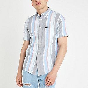 Lee – Blaues, gestreiftes Kurzarmhemd