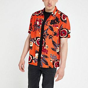 Lee - Oranje overhemd met bloemenprint en korte mouwen