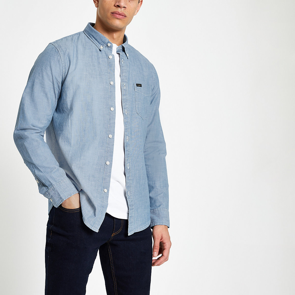 Lee light blue button down denim shirt