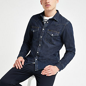 Lee dark blue slim fit denim western shirt
