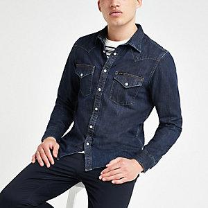 Lee - Donkerblauw slim-fit denim western overhemd