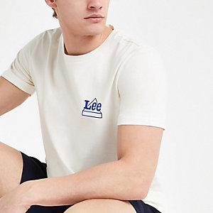 Lee – Weißes T-Shirt mit Logo-Print