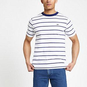 Lee – Weißes, gestreiftes T-Shirt