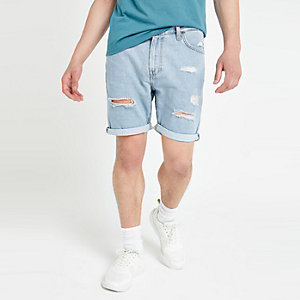 Lee - Blauwe ripped denim short