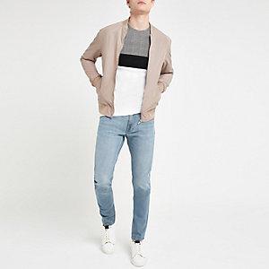 Lee - Luke - Lichtblauwe slim-fit smaltoelopende jeans