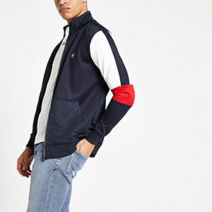 Jack & Jones navy zip front track top