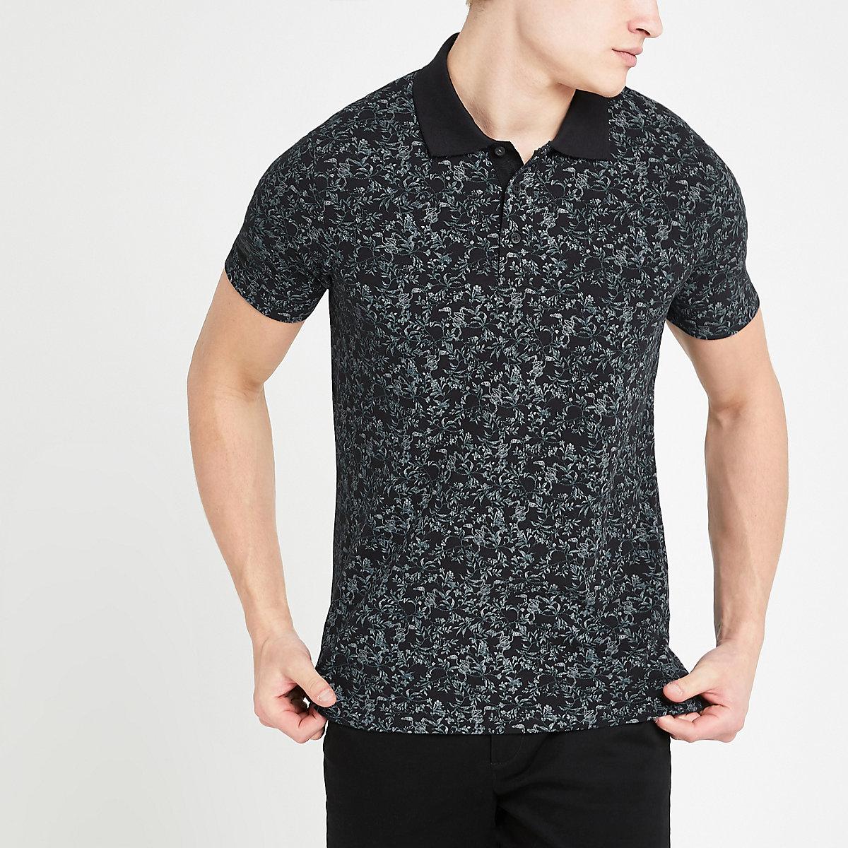 Jack and Jones black floral polo shirt