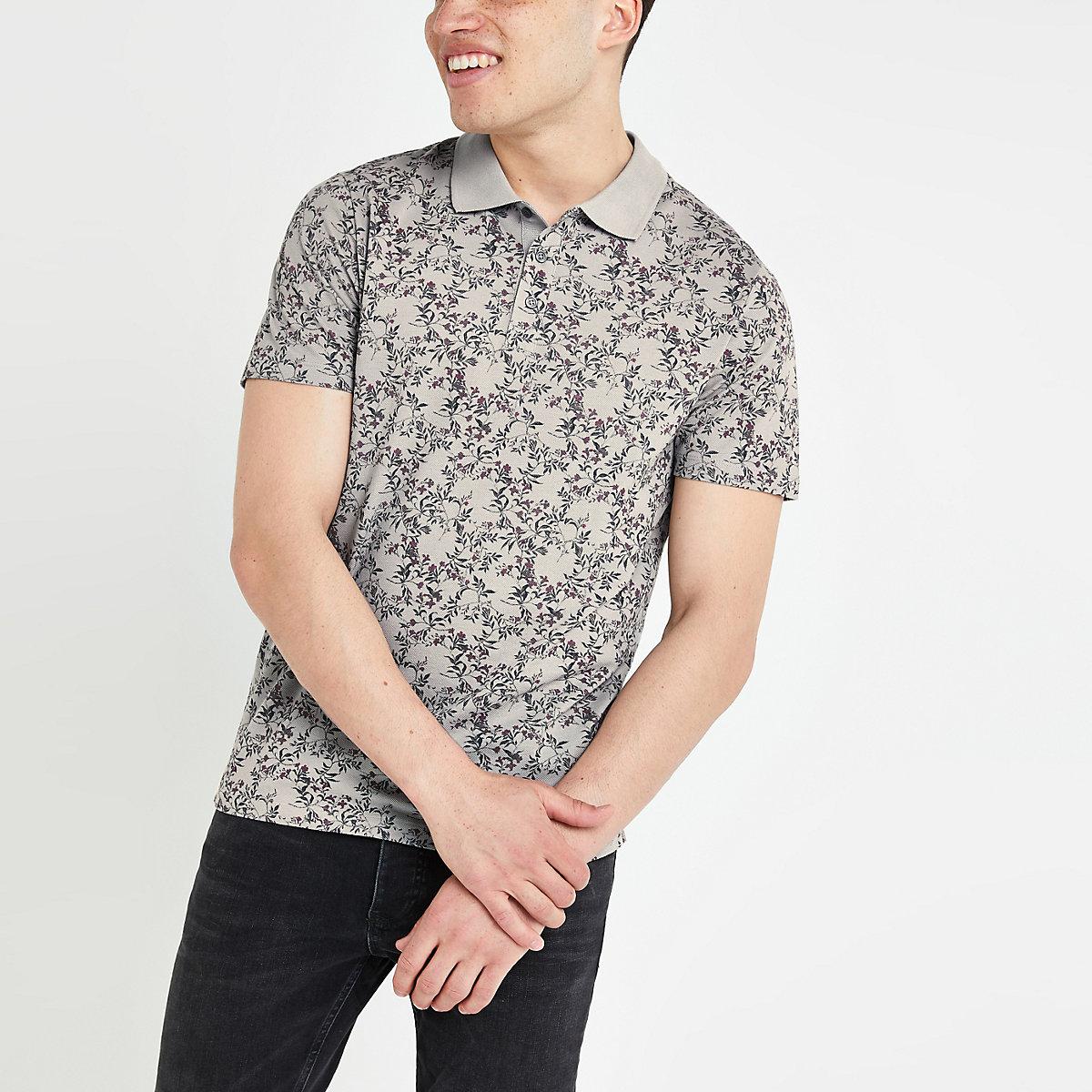 Jack and Jones grey floral polo shirt
