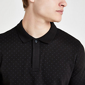 Jack & Jones – Schwarzes, gepunktetes Polohemd