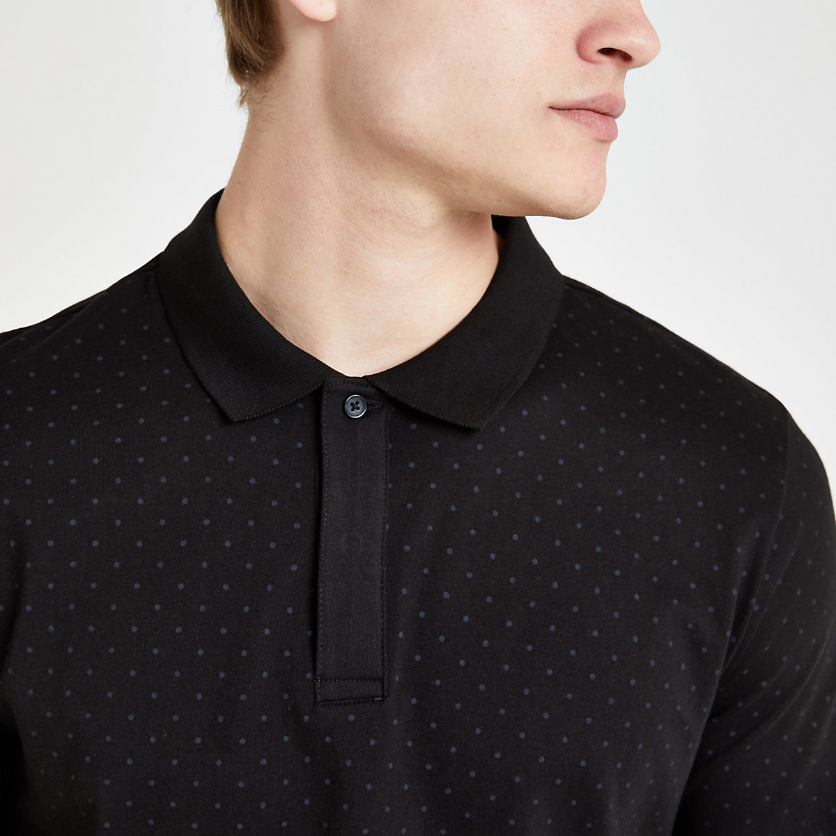 Jack and Jones black spot polo shirt