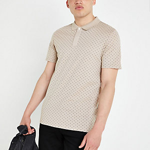 Jack and Jones - Kiezelkleurig poloshirt met stippen