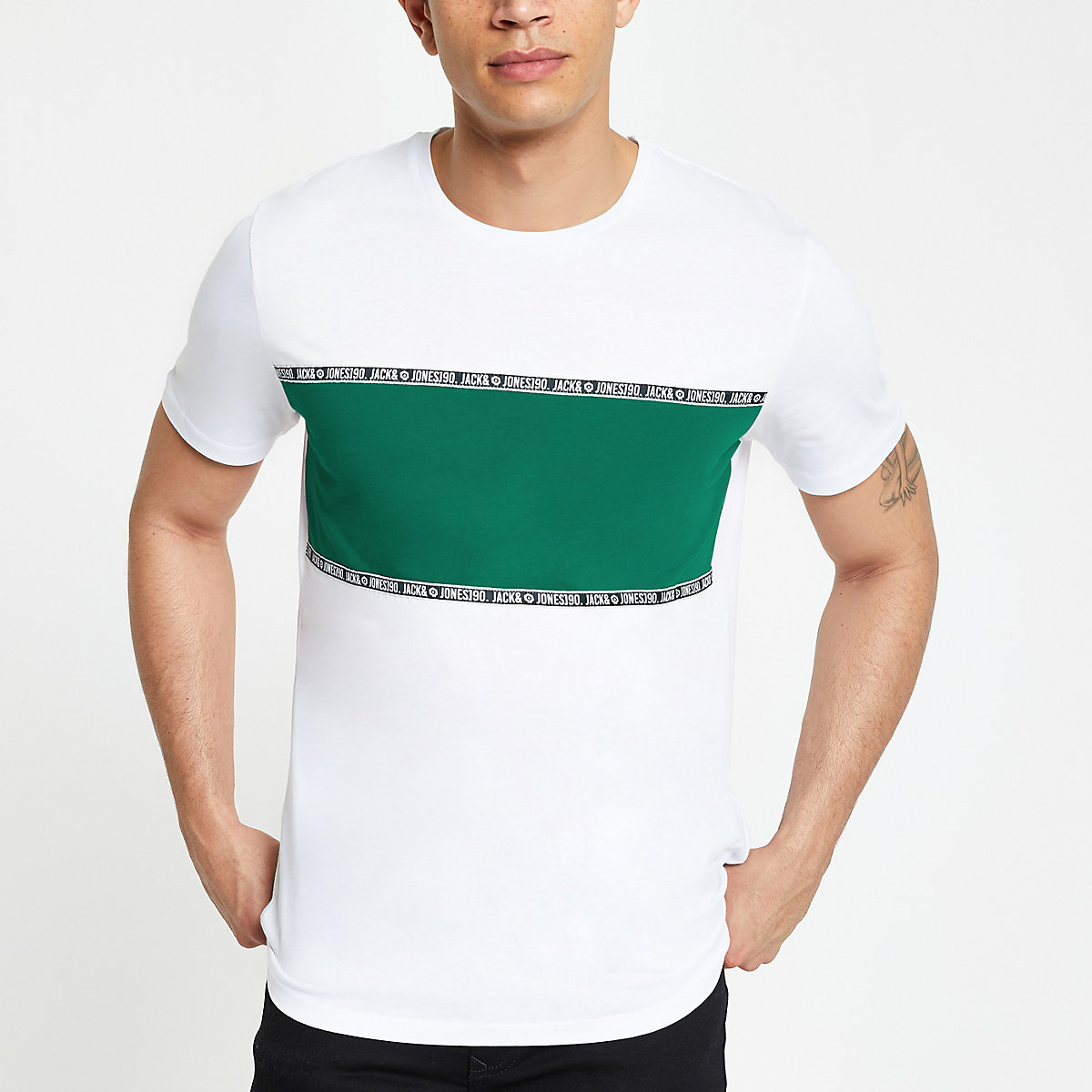Jack & Jones white blocked T-shirt