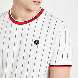 Jack & Jones – Weißes T-Shirt mit Nadelstreifen
