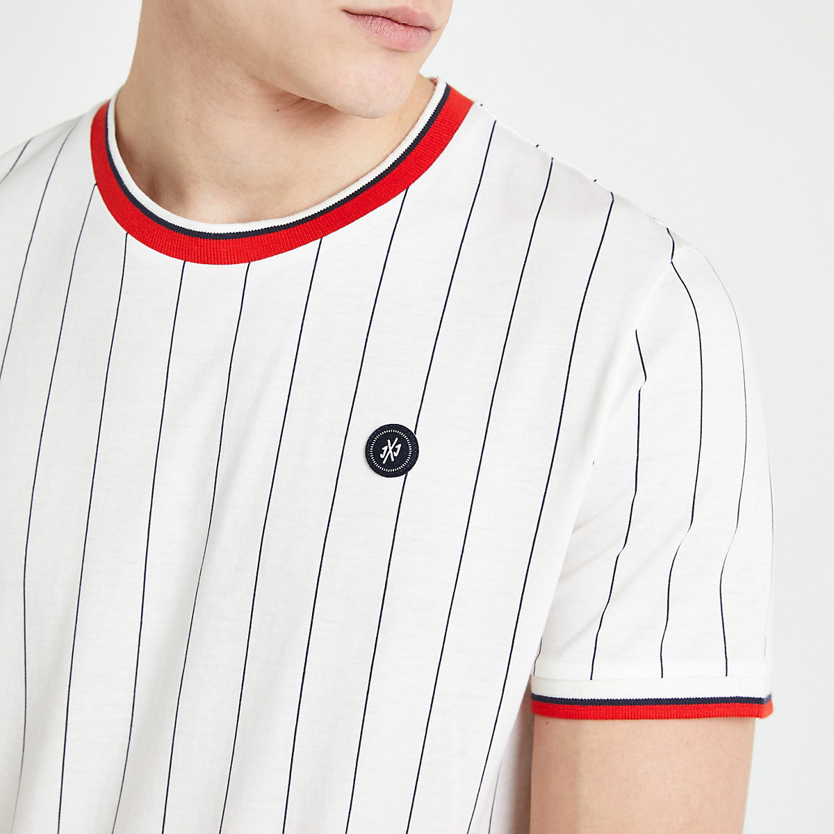 Jack and Jones white pinstripe T-shirt
