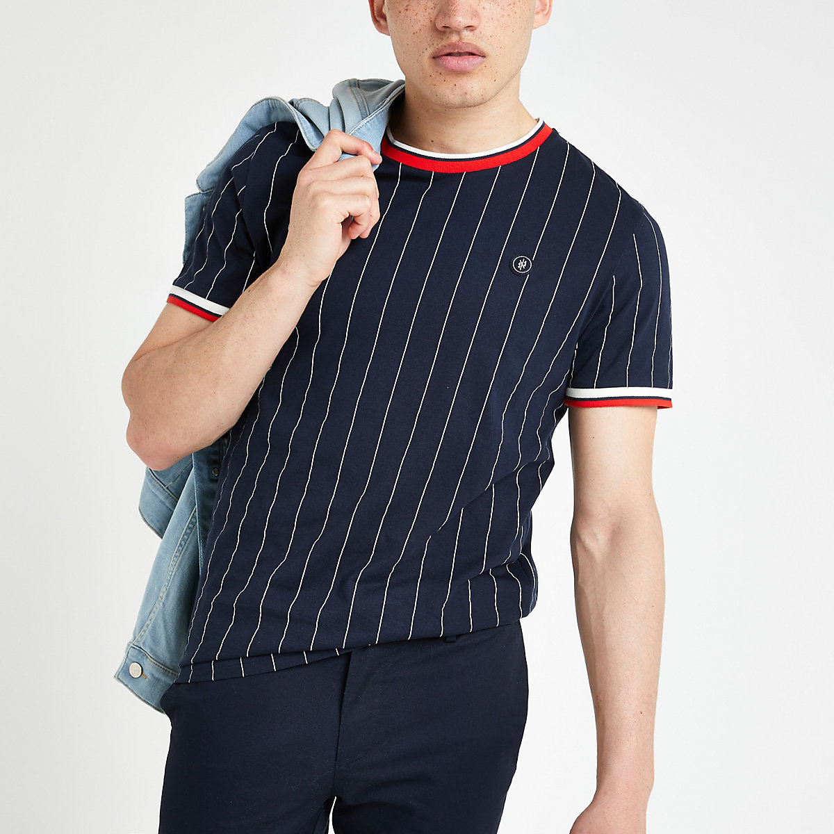 Jack and Jones navy pinstripe T-shirt