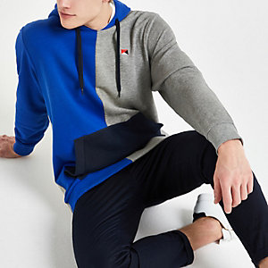 Jack & Jones blue colour block hoodie