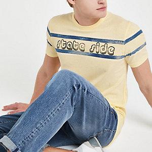 "Jack & Jones – Gelbes T-Shirt ""State side"""