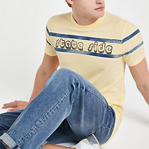 Jack and Jones - Geel T-shirt met 'State side'-print