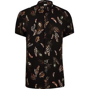 Big and Tall peacock print slim fit shirt
