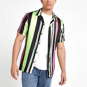 Black neon stripe short sleeve shirt