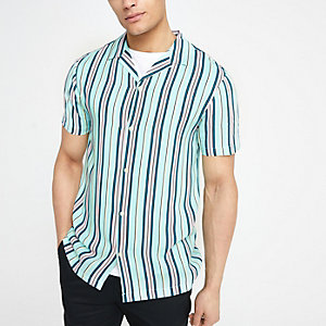 Pastel green stripe short sleeve shirt