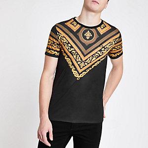 Criminal Damage - Zwart T-shirt met barok print