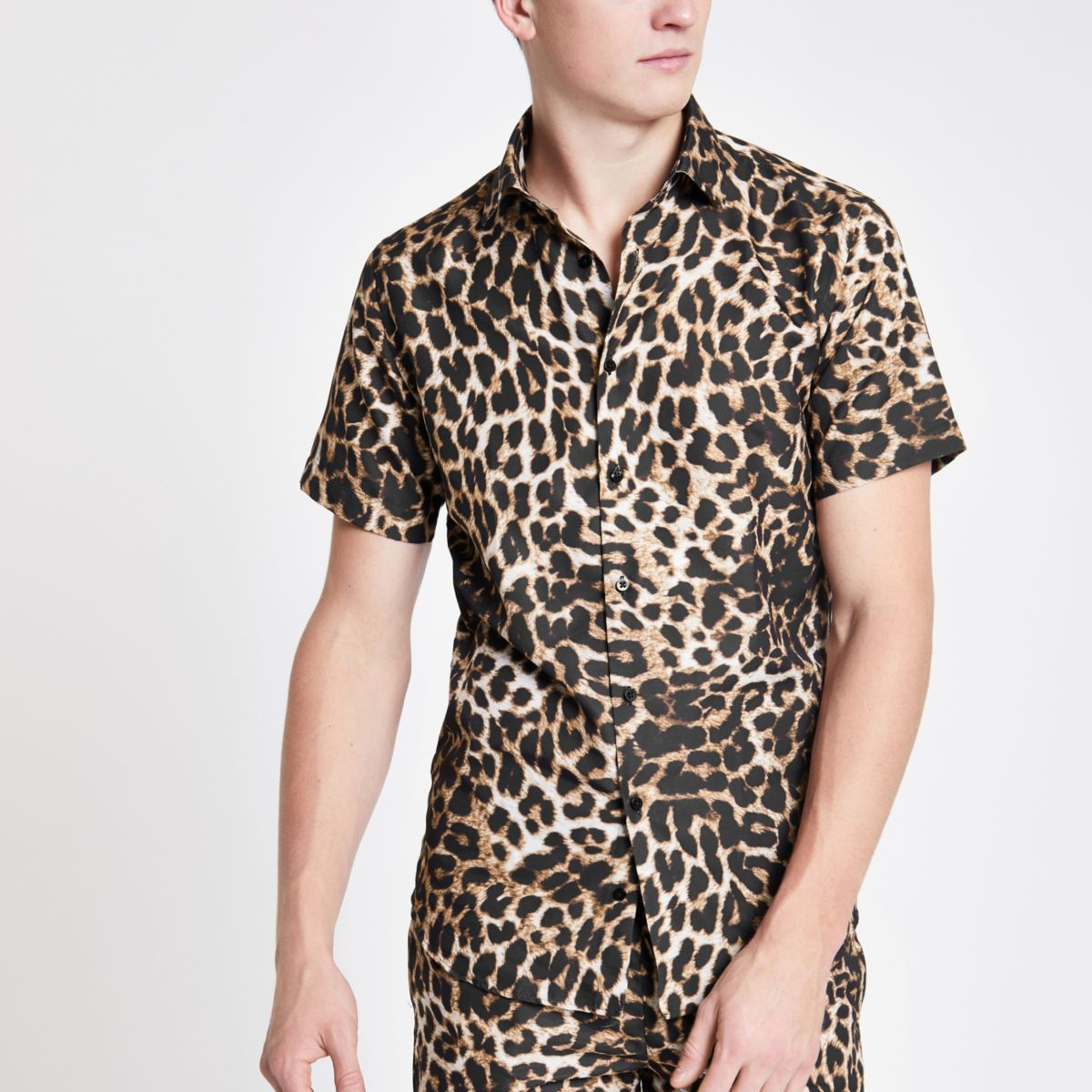 Criminal Damage brown leopard print shirt