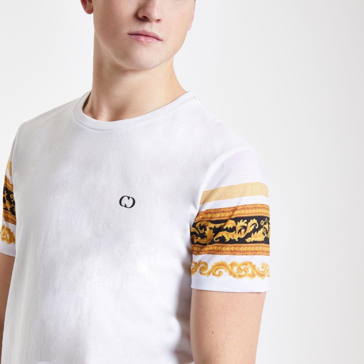 Criminal Damage white baroque sleeve T-shirt