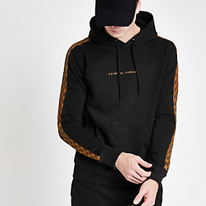 Criminal Damage black check panel hoodie