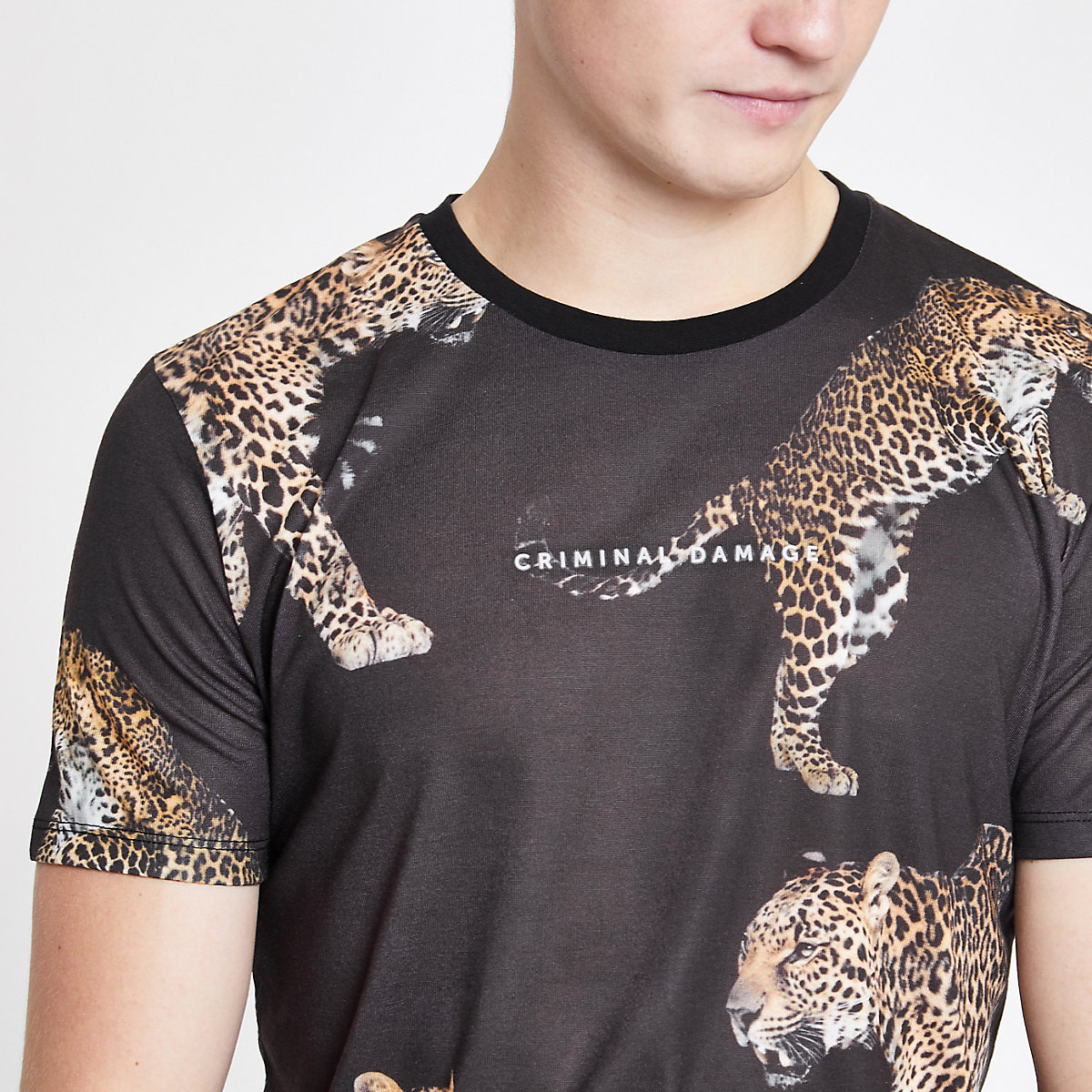 Criminal Damage black animal print T-shirt
