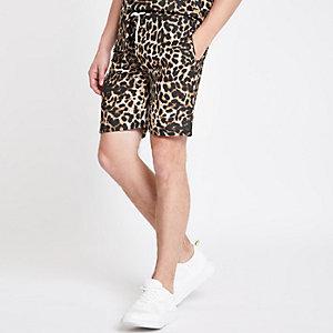 Criminal Damage – Short imprimé léopard marron