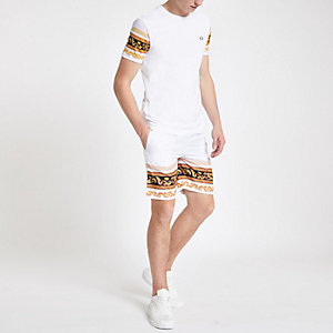 Criminal Damage white baroque print shorts