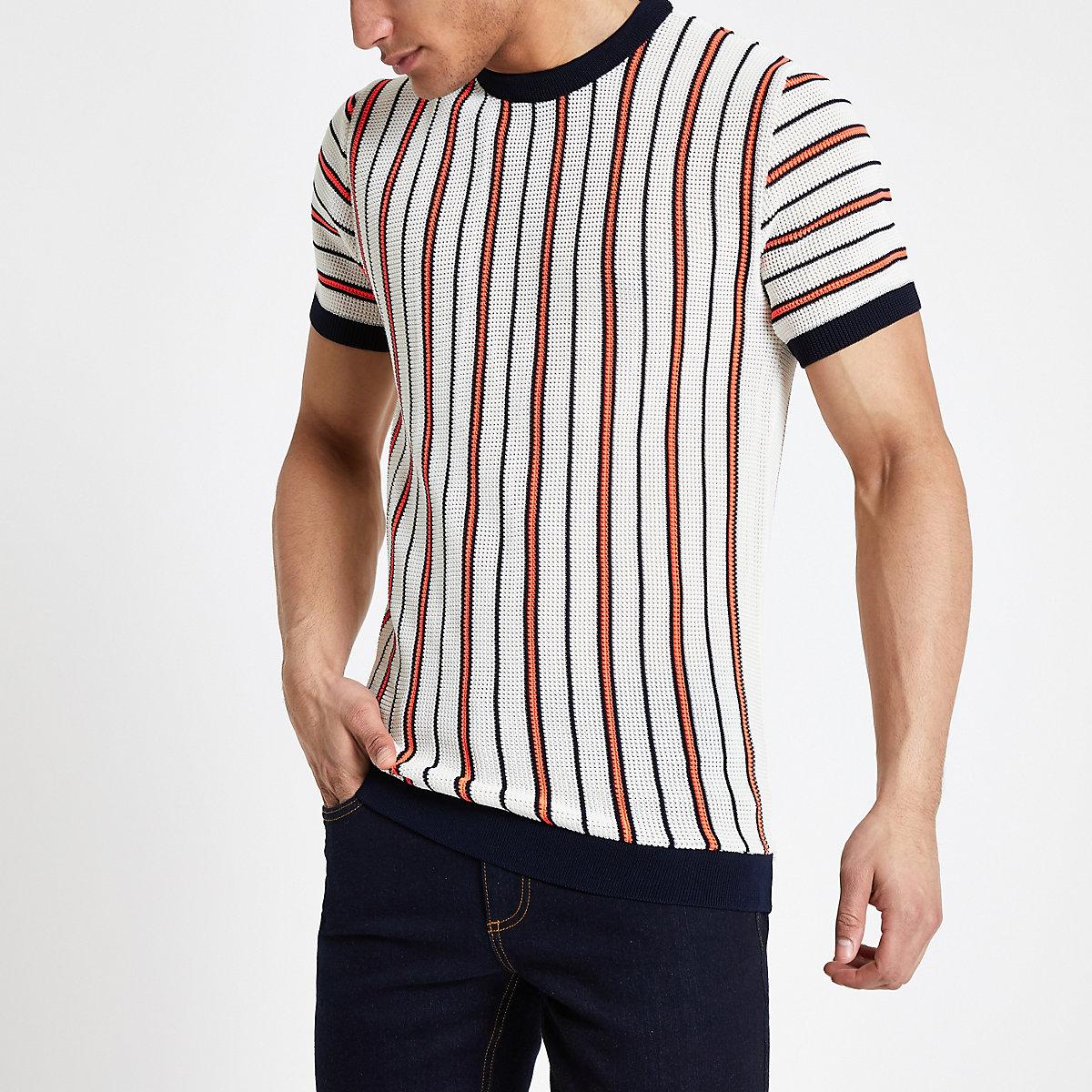 Ecru neon stripe knitted slim fit T-shirt