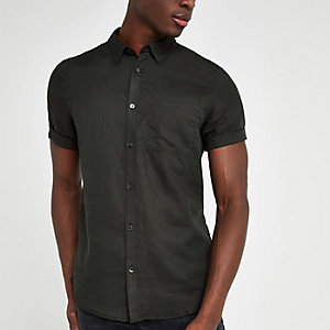 Zwart linnen slim-fit overhemd met korte mouwen