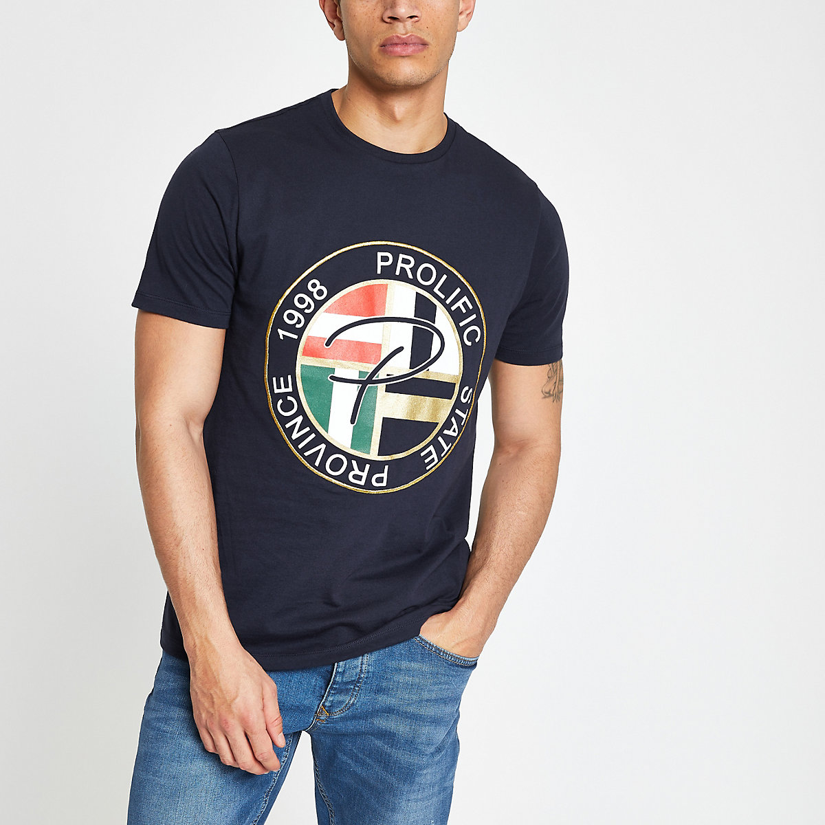 Navy 'Prolific' printed slim fit T-shirt