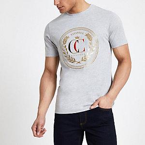 T-shirt slim imprimé gris chiné