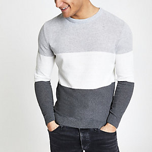 Grauer Muscle Fit Strickpullover